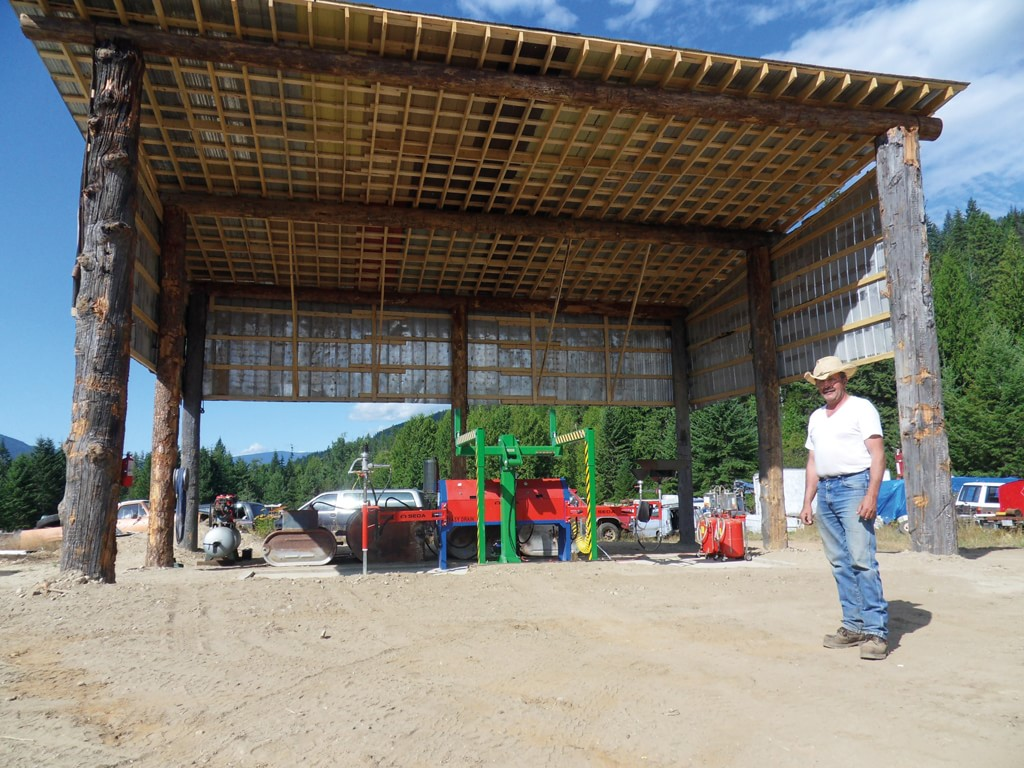 The drainage structure at Balfour towing is built from tree trunks and more.