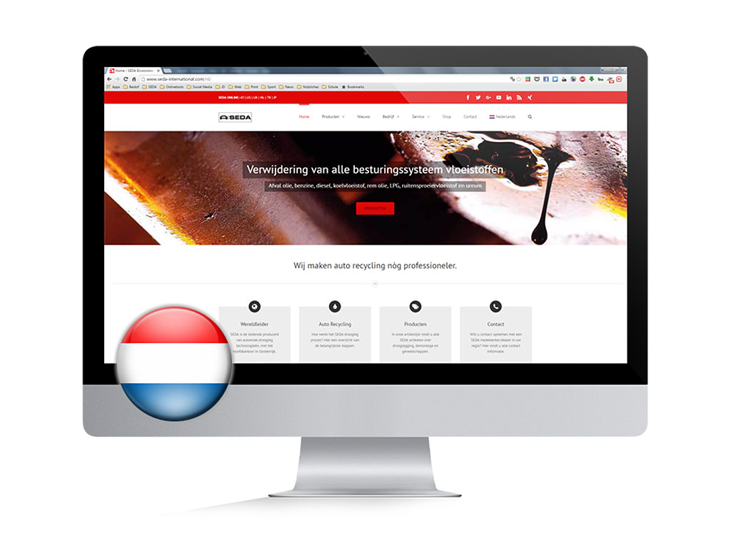 nl website screen - SEDA website now also in Dutch