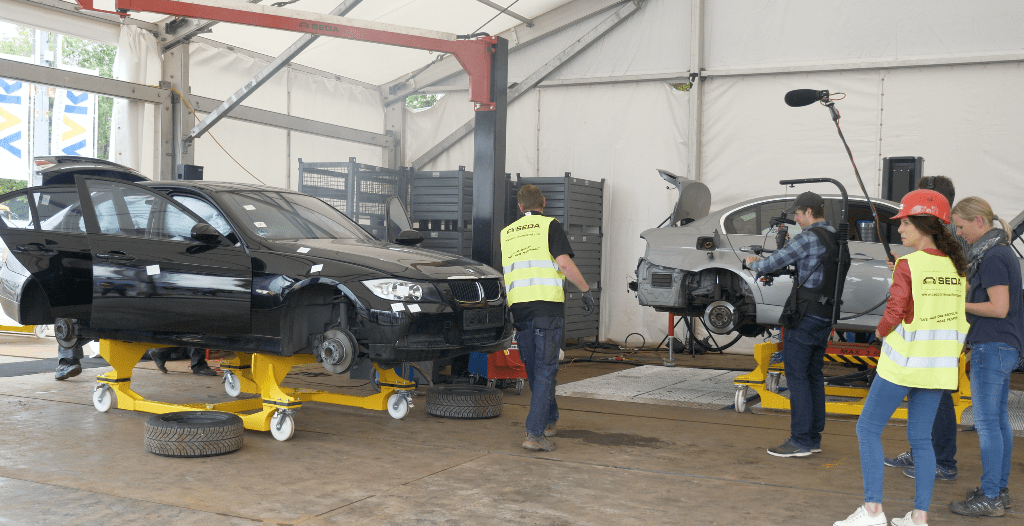 ifat18 vorbereitung 8 min - SEDA presented car recycling LIVE at IFAT 2018